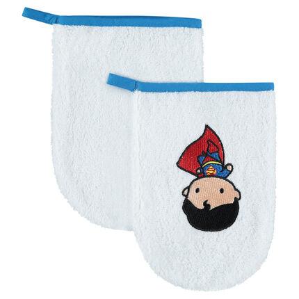 Set de 2 gants de toilette avec Superman brodé JUSTICE LEAGUE - CHIBI