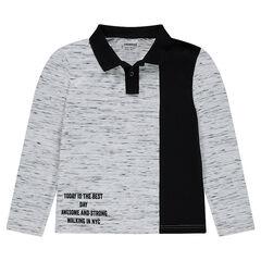 Junior - Polo en jersey effet slub avec inscription printée