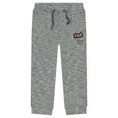 Pantalon de jogging en molleton chiné avec badges patchés