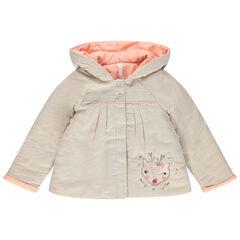 Manteau en coton à capuche pointue et faon brodé