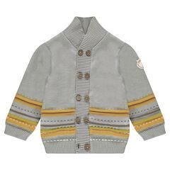 Gilet en tricot avec motifs jacquard et badge lion
