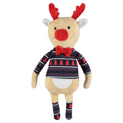 Peluche renne en velours avec tee-shirt imprimé esprit Noël