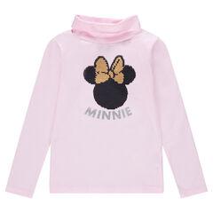 Sous-pull uni en jersey avec Minnie ©Disney en sequins magiques