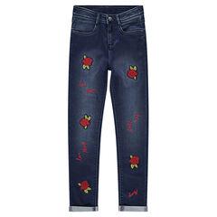 Junior - Jeans coupe slim avec roses patchées