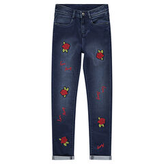 0e0116634621f Junior - Jeans coupe slim avec roses patchées