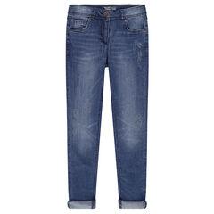Junior - Jeans slim avec prints effet délavé