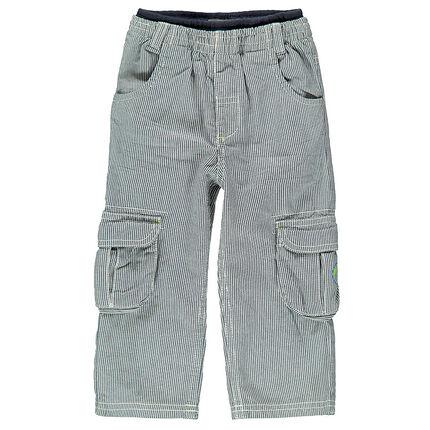 Pantalon en toile de coton à fines rayures