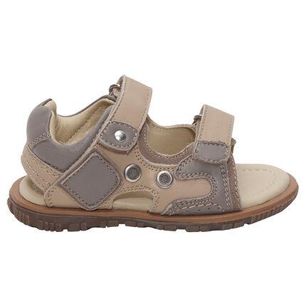 Nu-pieds en cuir à scratchs avec empiècements contrastés