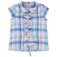 Chemise manches courtes à carreaux et liens à nouer