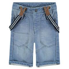 Bermuda en jeans à bretelles effet used