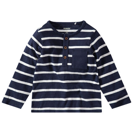 T-shirt manches longues rayé à poche et col boutonné