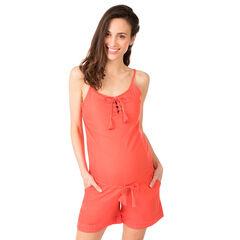 Combi-short de grossesse avec laçage au col et frise brodée