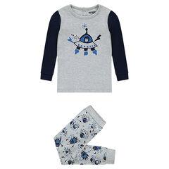 Pyjama en jersey avec engins spatiaux printés