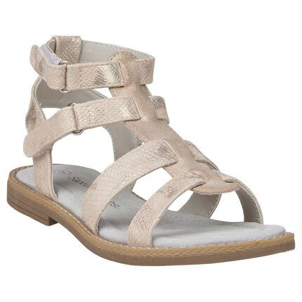 Nu-pieds dorés effet croco style spartiates du 28 au 35