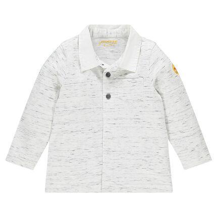 Polo manches longues en jersey fancy avec poche et badge