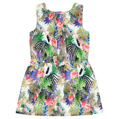 Robe fluide à imprimé tropical