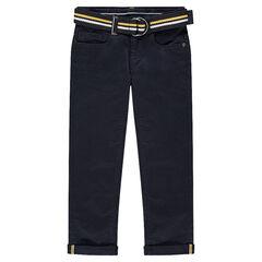 Pantalon en twill uni marine avec ceinture tressée amovible