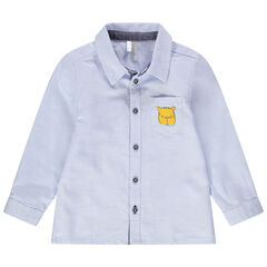 Chemise manches longues bleue avec poche printée tigre