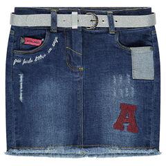 Jupe en jeans avec ceinture pailletée amovible et broderies