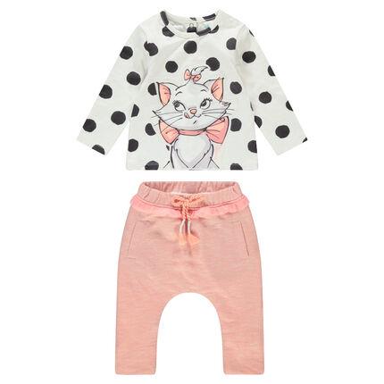 Ensemble tee-shirt à pois print Marie Aristochats ©Disney et pantalon chiné