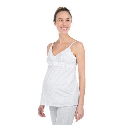 Débardeur homewear de grossesse en coton bio avec dentelle