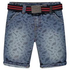 Bermuda en jeans imprimé all-over avec ceinture amovible
