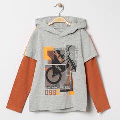 T-shirt manches longues effet 2 en 1 print vélo