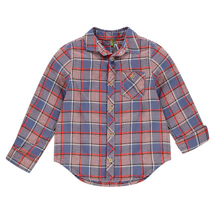 Chemise manches longues à carreaux fantaisie avec poche