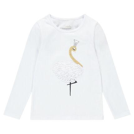 Tee-shirt manches longues avec cygne brodé et couronne en sequins