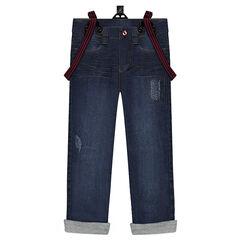 Jeans droit effet used à bretelles élastiquées amovibles
