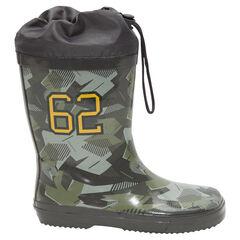 Bottes de pluie motif army avec col imperméable