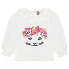 Tee-shirt manches longues en maille effet tricot avec chat pailleté printé
