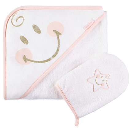 Set de bain avec cape et gant de toilette Smiley Girl