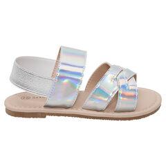 Nu-pieds à brides iridescentes avec élastique