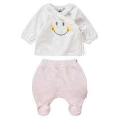 Pyjama 2 pièces en velours print Smiley