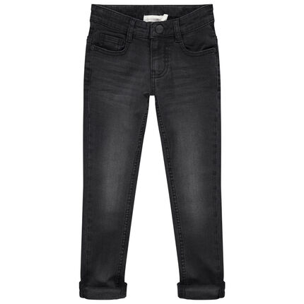 Jean effet used et crinkle coupe slim
