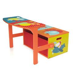 Banc 3en1 pupitre et coffre à jouets Jungle