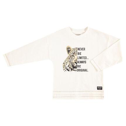 Tee-shirt manches longues en jersey avec léopard et texte printés