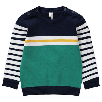 Pull en tricot à bandes contrastées en jacquard