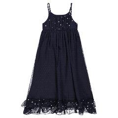b8cd1d0bea5 Junior - Robe longue en voile plumetis doublée avec étoiles printées