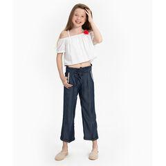 Junior - Pantacourt en chambray avec poches à galons