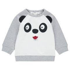 Sweat en molleton bicolore avec panda printé