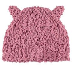 Bonnet en maille pop-corn avec oreilles cousues sur le dessus