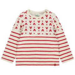 T-shirt manches longues à rayures et serti Mickey Disney
