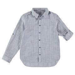 Junior - Chemise manches longues à rayures et poche plaquée