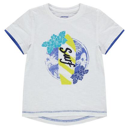 Tee-shirt manches courtes avec print végétal et inscription