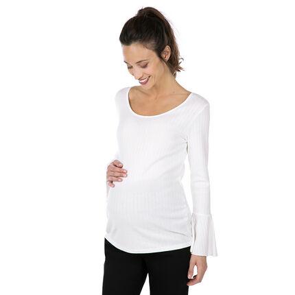 Tee-shirt de grossesse en maille côtelée à manches évasées