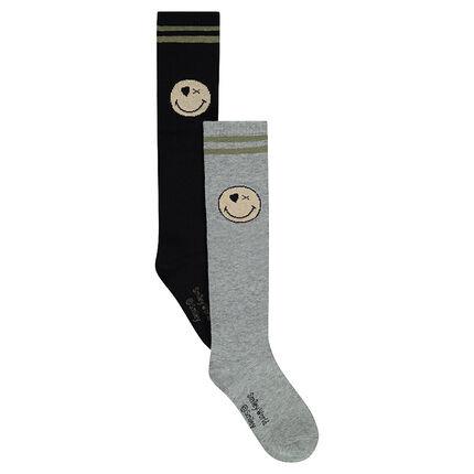Junior - Lot de 2 paires de chaussettes hautes avec ©Smiley en jacquard