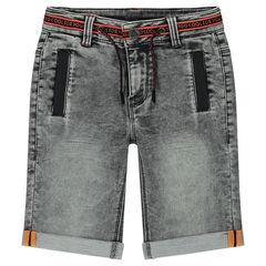 Bermuda en molleton effet jeans used avec cordons de serrage