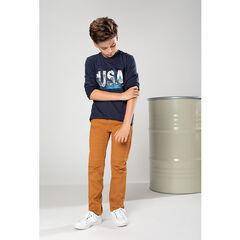 Junior - Tee-shirt manches longues en jersey avec motif USA et sequins magiques